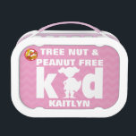 """Tree Nut and Peanut Free Kid Girl Superhero Lunch Box<br><div class=""""desc"""">Girls Pink Tree Nut and Peanut Allergy Alert Superhero Silhouette Personalized Lunch Box. Tree nut and peanut free kid girl superhero lunch box. White font and girl superhero on a pink chevron stripe background. Red bold no peanuts or tree nuts symbol helps alert to a food allergy. Use for a...</div>"""