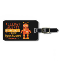 Tree Nut Food Allergy Alert Robot Boys Bag Tag