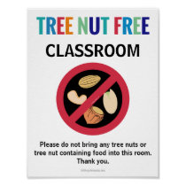 Tree Nut Free Classroom Customized Allergy School Poster