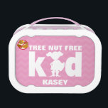 """Tree Nut Free Kid Girl Superhero Pink Lunch Box<br><div class=""""desc"""">Personalized Pink Chevron Stripe Superhero Girl Tree Nut Allergy Alert Lunch Box. Tree nut free girl kid superhero lunch box. White font and girl superhero on a pink chevron stripe background. Red bold no peanuts symbol helps alert to a food allergy. Use for a lunch box, safe snack container or...</div>"""