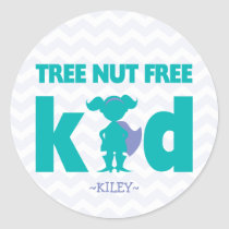 Tree Nut Free Kid Superhero Girl Allergy Stickers