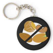 Tree Nut Free Symbol Black Nut Allergy Kids Keychain
