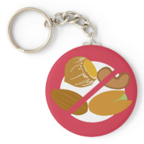 Tree Nut Free Symbol Red Nut Allergy Kids Keychain