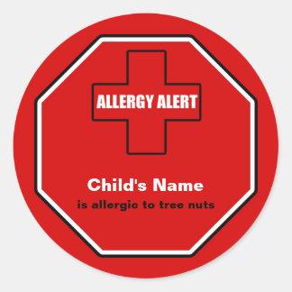 Tree Nuts Allergy Medical Alert Custom Std Sticker