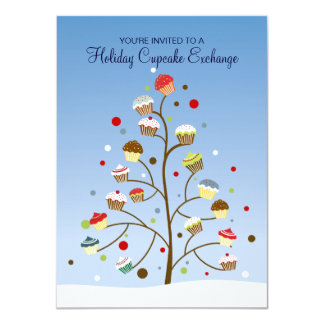 "Tree of Cupcakes Exchange Holiday Party 4.5"" X 6.25"" Invitation Card"