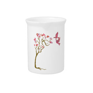 Tree of hearts and Love birds Pitchers