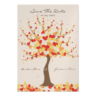 Tree Of Hearts Fall Winter Wedding Save The Date Invites