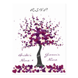 Tree of Hearts - Purple Wedding RSVP Postcard