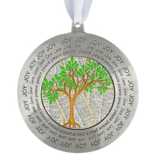 TREE OF KNOWLEDGE ROUND PEWTER ORNAMENT