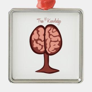 Tree Of Knowledge Silver-Colored Square Ornament