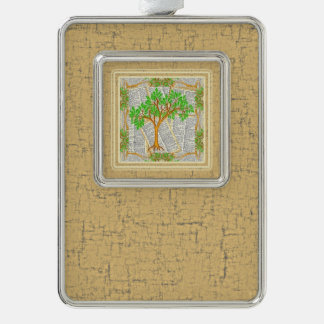 TREE OF KNOWLEDGE SILVER PLATED FRAMED ORNAMENT