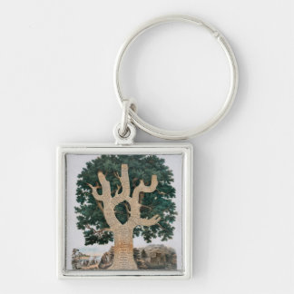 Tree Of Knowledge Silver-Colored Square Keychain