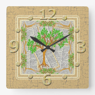 TREE OF KNOWLEDGE SQUARE WALL CLOCK
