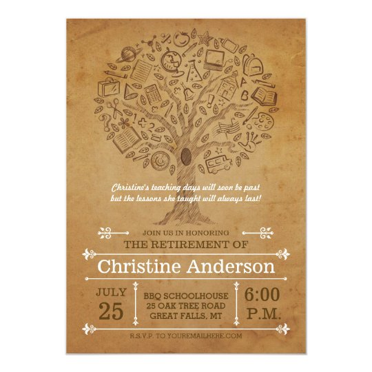 Tree Of Knowledge Teacher Retirement Invitation | Zazzle
