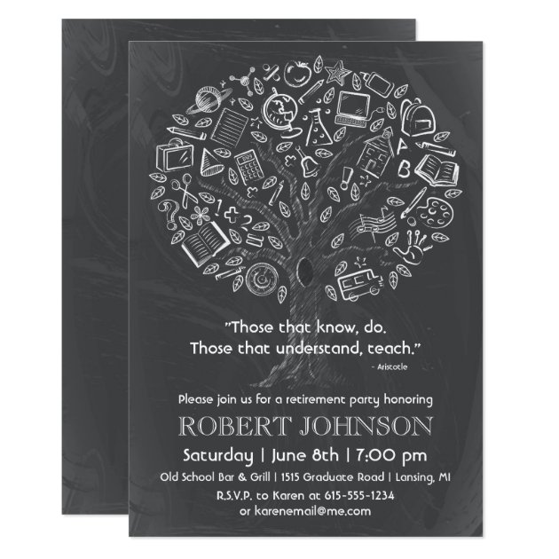 Tree Of Knowledge Teacher Retirement Invitation  Zazzle