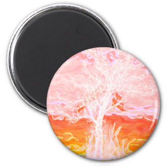 Tree of Life - Abstract Peaceful Tree 2 Inch Round Magnet