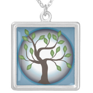 Tree of Life and Moon Square Pendant Necklace