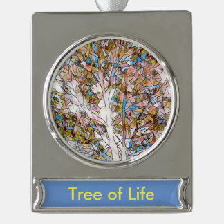 'Tree of Life' Artistic Stained Glass Silver Plated Banner Ornament