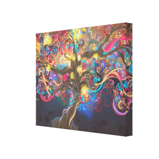 Tree of Life at Night Tapestry Poster Canvas Print