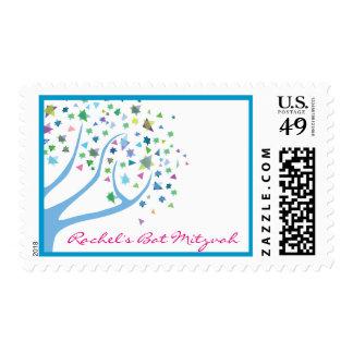 Tree of Life Bar Bat Mitzvah Blue Postage Stamp