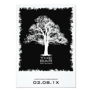 Tree of Life Bar Mitzvah Invitation, Black Card