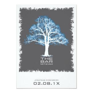 Tree of Life Bar Mitzvah Invitation, Blue & Gray Card