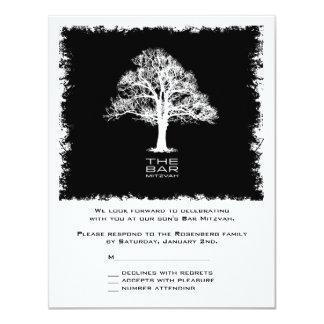 Tree of Life Bar Mitzvah Reply Card, Black Card