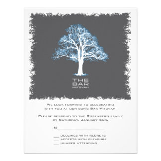 Tree of Life Bar Mitzvah Reply Card, Blue & Gray