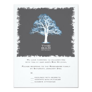 Tree of Life Bar Mitzvah Reply Card, Blue & Gray Custom Invite