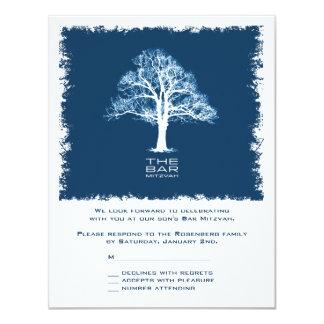 "Tree of Life Bar Mitzvah Reply Card, Navy 4.25"" X 5.5"" Invitation Card"