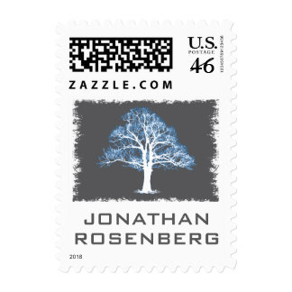 Tree of Life Bar Mitzvah Stamp, Blue & Gray Small