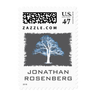 Tree of Life Bar Mitzvah Stamp, Blue & Gray Small Postage Stamp