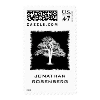 Tree of Life Bar Mitzvah Stamp in Black, Medium