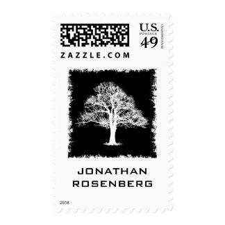 Tree of Life Bar Mitzvah Stamp in Black, Medium