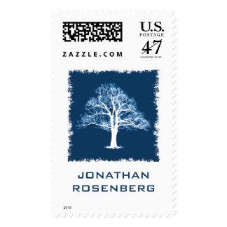 Tree of Life Bar Mitzvah Stamp in Navy, Large