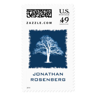 Tree of Life Bar Mitzvah Stamp in Navy, Large