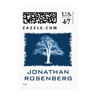 Tree of Life Bar Mitzvah Stamp in Navy, Small
