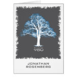 Tree of Life Bar Mitzvah Thank You Card, Blue Gray