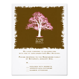 Tree of Life Bat Mitzvah Reply Card, Chocolate Card