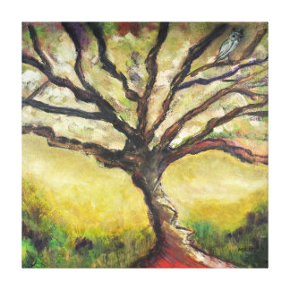 Tree of Life Bird Painting Unique Countryside Wrap Gallery Wrapped Canvas