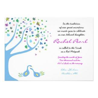 Tree of Life Birds Stars Bat Mitzvah Invitation