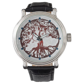 Tree of Life Black Leather Strap Watch