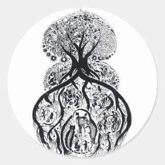 TREE of LIFE - black & white Classic Round Sticker