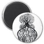 TREE of LIFE - black & white Fridge Magnets