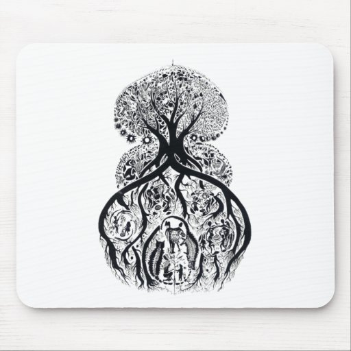 TREE of LIFE - black & white Mouse Pad