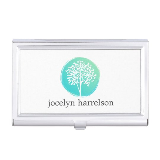 Tree of life bluegreen business card holder zazzle tree of life bluegreen business card holder colourmoves