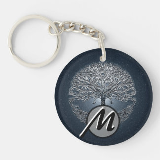Tree of Life Blue Sky Peaceful Night Keychain