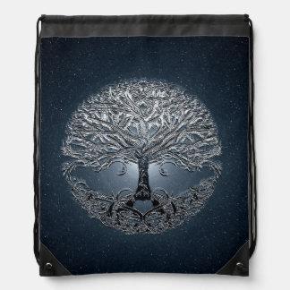 Tree of Life Blue Sky Peaceful Night Drawstring Bags