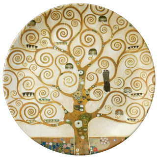 Tree of Life by Gustav Klimt Porcelain Plates