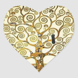 Tree of Life by Klimt Heart Sticker, Art Nouveau Heart Sticker
